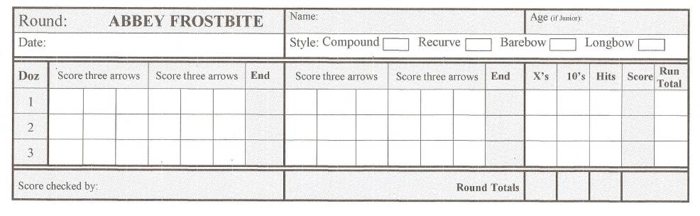 Frostbite score sheet